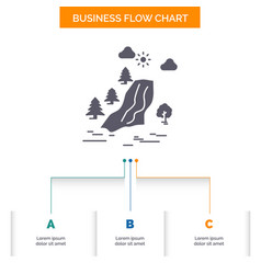 Waterfall tree pain clouds nature business flow vector
