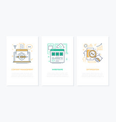 web development - line design style banners set vector image