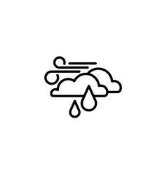 web icon wind clouds and rain black on white vector image