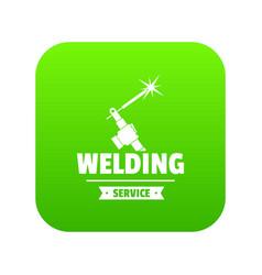 welding workshop icon green vector image