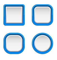 White interface buttons with blue frame vector