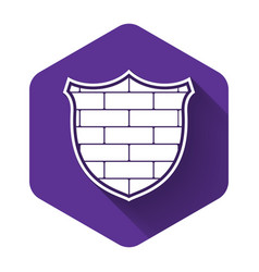 white shield with cyber security brick wall icon vector image