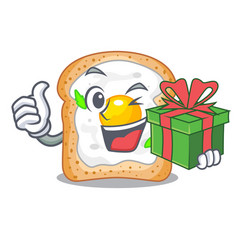 With gift sandwich with egg above character board vector
