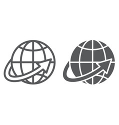 worldwide shipping line and glyph icon world and vector image