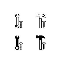 wrench and hammer icon isolated vector image
