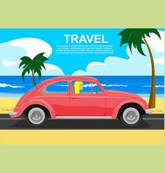 young blonde driving retro car along the sea coast vector image
