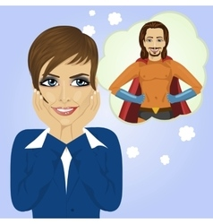 Young businesswoman dreaming about superhero man vector image