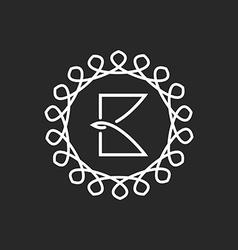Letter B logo line frame monogram elegant black vector image vector image