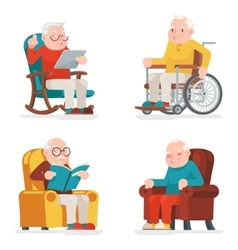 Old Man Characters Sit Sleep Web Surfing Read vector image