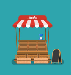 traditional market empty wooden food vector image vector image