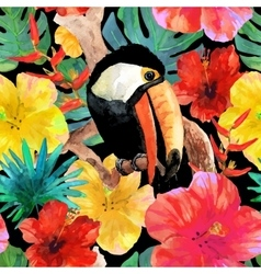 Tropical seamless background Bird toucan sitting vector image vector image