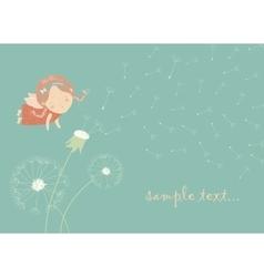 Cute angel blowing on a dandelion vector image