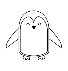 cute line icon penguin cartoon vector image vector image