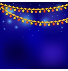 Golden Christmas stars on blue background vector image
