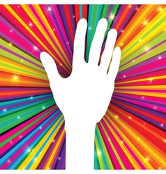hand symbol on psychedelic abstract background vector image