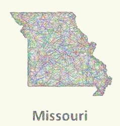 Missouri line art map vector