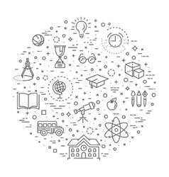 Outline web icon set - school education vector