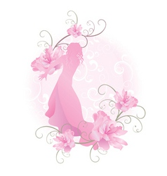 pink vector girl with flowers vector image vector image