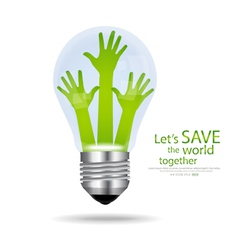 Save the world Light bulb with hands inside vector image