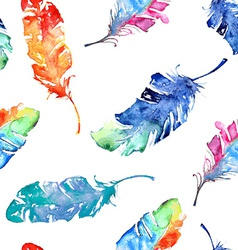 Seamless pattern with watercolor feathers vector image vector image