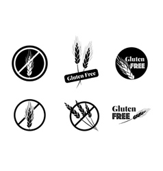 Set Of Six Gluten Free Symbols With Banned vector image