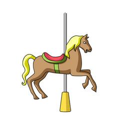 Carousel for children horse on the pole for vector