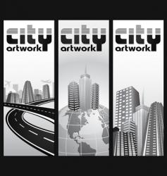 Vertical city banners vector