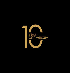 10 year anniversary gold template design vector