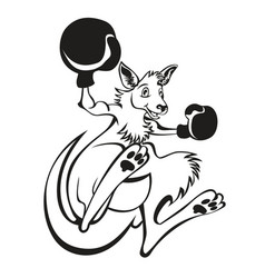 a kangaroo kick boxer boxing with boxing gloves vector image