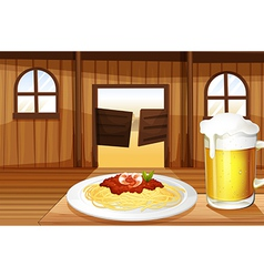 A spaghetti and a glass of beer inside the saloon vector
