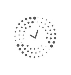 abstract halftone dots and time logo for vector image