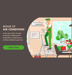 Air condition repair designer page template vector