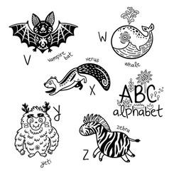 Animals alphabet v - z for children vector