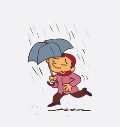 asian child running in the rain with an umbrella vector image
