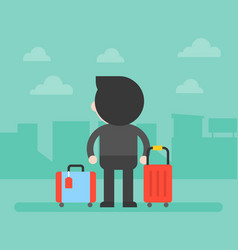 back side of business man and luggage with vector image