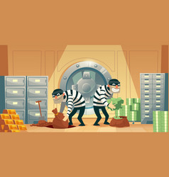 Bank vault robbery by thieves criminals vector