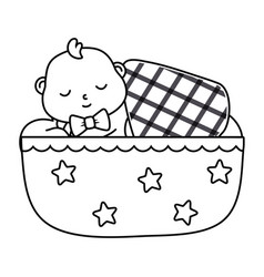 Basleeping in a cradle in black and white vector