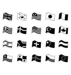black country flags icon set vector image