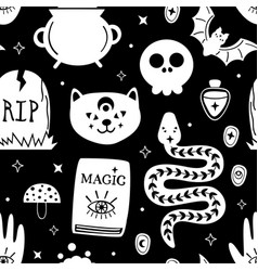 black seamless pattern with magic design elements vector image