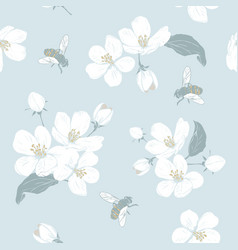 Blooming tree seamless pattern with flowers vector