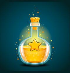 Bottle of magic elixir with star vector