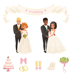 brides in lush white dresses grooms in classic vector image
