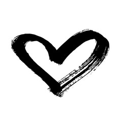 brush painted heart isolated on a white background vector image