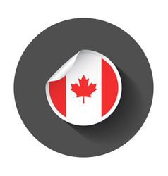 canada sticker with flag with long shadow vector image