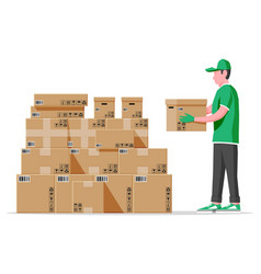 Cardboard boxes pile and mover isolated on white vector