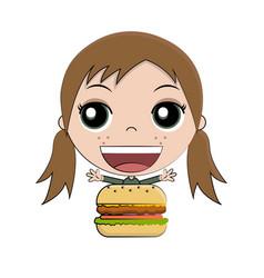 cartoon girl eating burger vector image