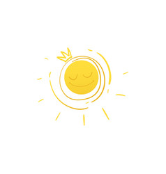 cartoon smiling sun in holden crown icon vector image