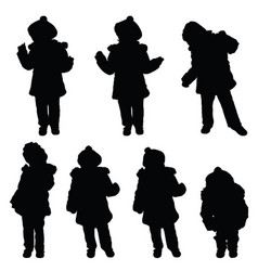 child with cute hat posing silhouette vector image