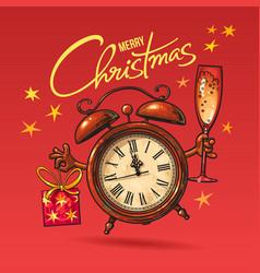 christmas greeting card cartoon alarm clock vector image