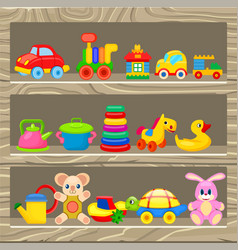 colorful childrens toys stand on wooden shelf vector image